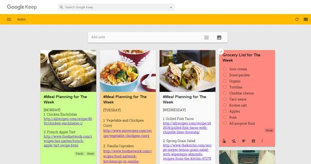 Meal Planning with Google Keep