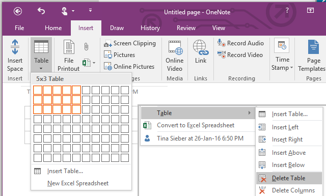 OneNote Insert Table