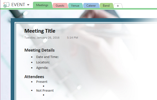 OneNote Meeting Notes Template