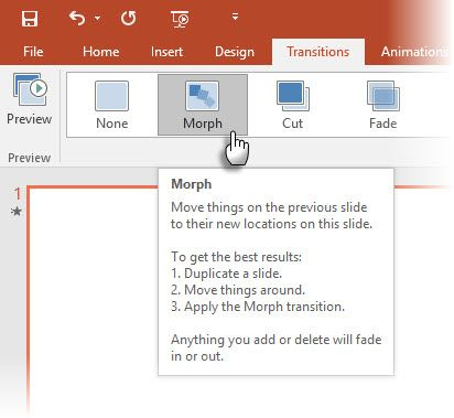Applying Morph in PowerPoint