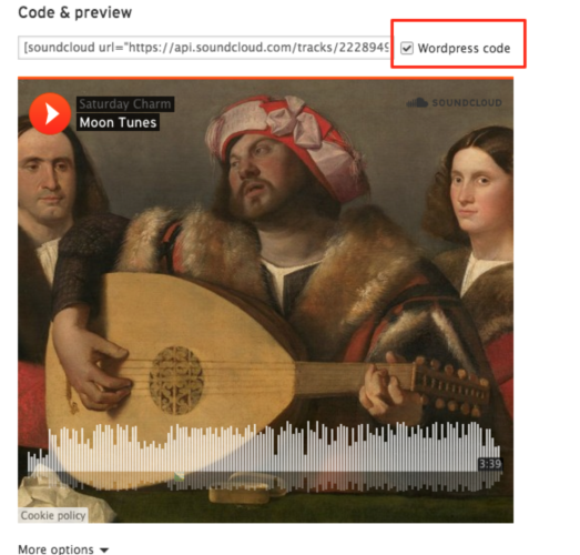 screenshot of WordPress and SoundCloud