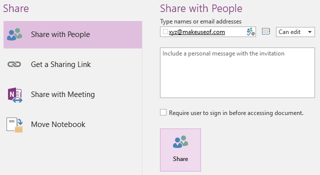 Share OneNote Notebook