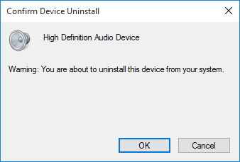 Windows 10 Confirm Driver Uninstall