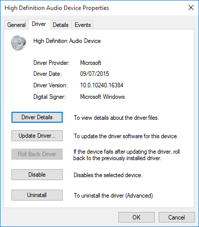 Windows 10 HD Audio Driver