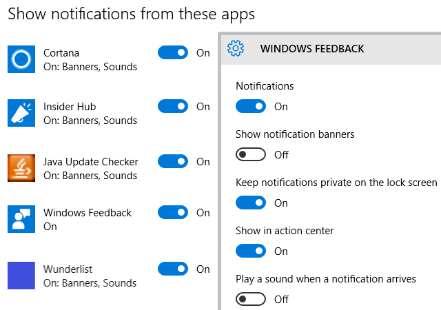 Windows 10 Notifications Settings