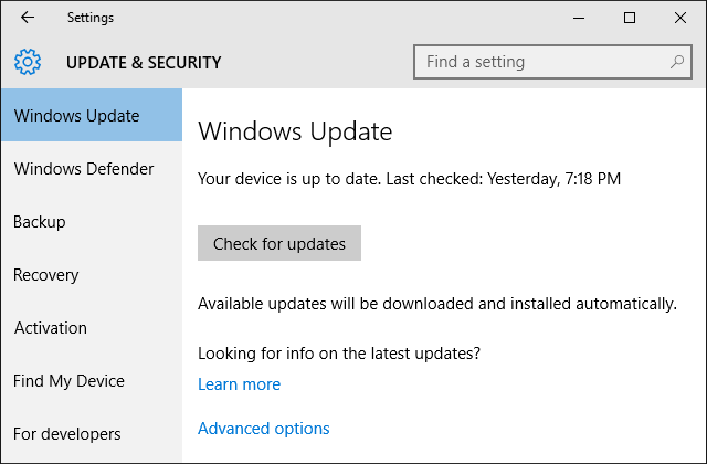 Windows 10 Settings Windows Update