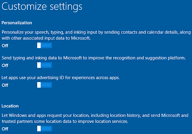 Windows 10 customize install personalization and location settings