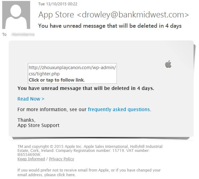 spot online fakes - Apple Phishing Email