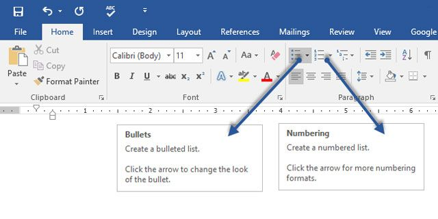 MS Word - Create Lists