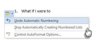 Turn off Automatic Numbering