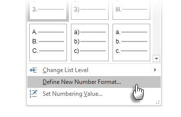 Change The Default Numbered List Format