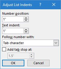 Adjust Microsoft Word's Automatic List Indent