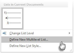 Define New Multilevel List