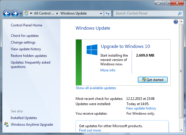 Upgrade to Windows 10 in Windows 7