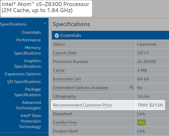 intel cherry trail price