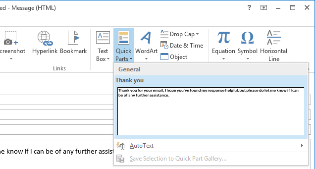 outlook quick parts