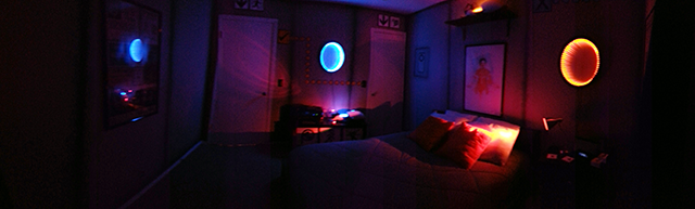 portal inspired bedroom lights off panorama