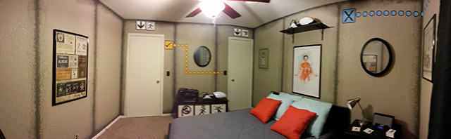 portal inspired bedroom lights on panorama