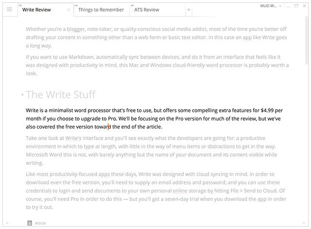Write!: A Minimal Word Processor with Cloud Sync, Markdown & More write focusmode