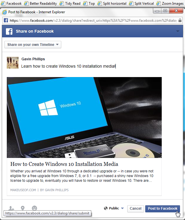 Internet Explorer 11 Facebook Bookmarklet