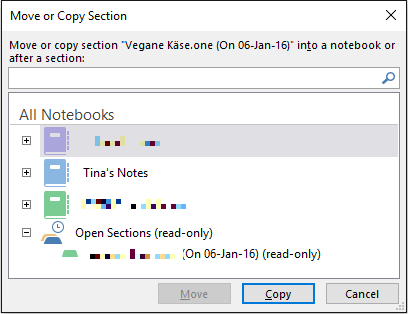 OneNote Move Notebook Section