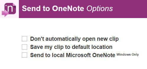 Send To OneNote Chrome extension