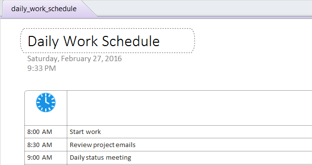 OneNoteDailyScheduleTemplate
