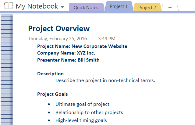project overview example to Adopt OneNote Templates for Project Management