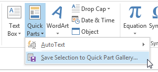Outlook Add To QuickPart Gallery