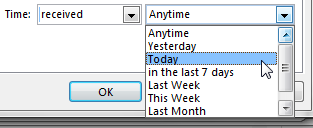 Outlook COnditional Formatting Time Filters