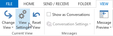 Outlook Current View Settings Tab