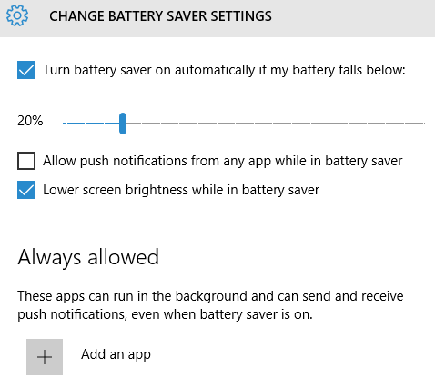 Windows 10 Change Battery Saver Settings