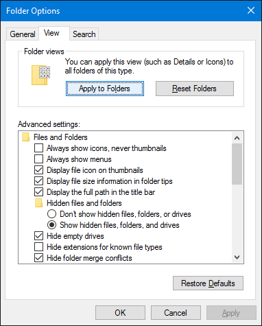Windows 10 File Explorer Folder Options
