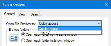 Windows 10 File Explorer General Folder Options