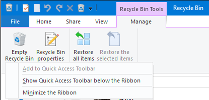 Windows 10 File Explorer Recycle Bin