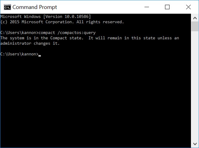 command prompt compactos query