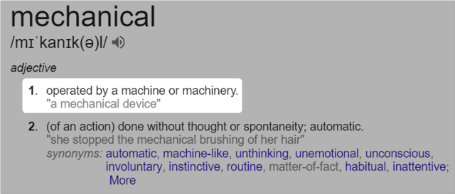 google defined mechanical