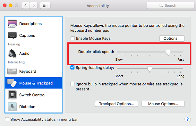 mac double click speed settings