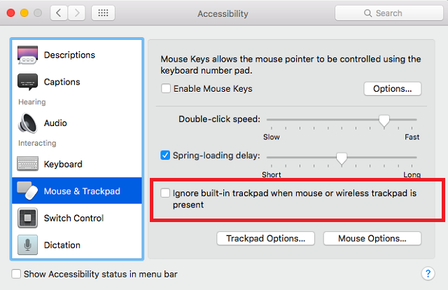 mac turn off trackpad settings