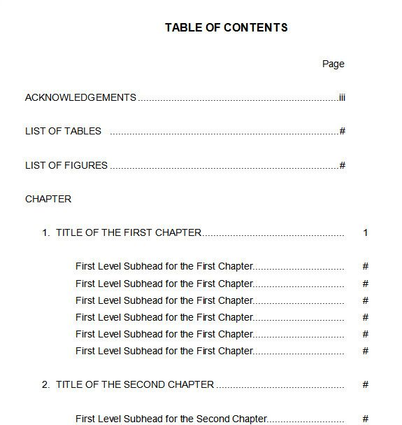 10 best table of contents templates for microsoft word table of contents 5 friedricerecipe Images