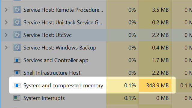 windows 10 ram process