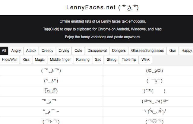 Emojis-Text-Faces-Emoticons-Lenny-Faces