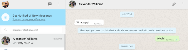WhatsApp Web end-to-end encryption screenshot