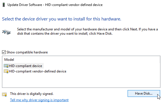 Windows 10 Driver Software Have Disk