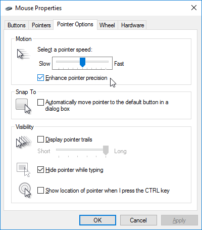 Windows 10 Enhance Pointer Precision
