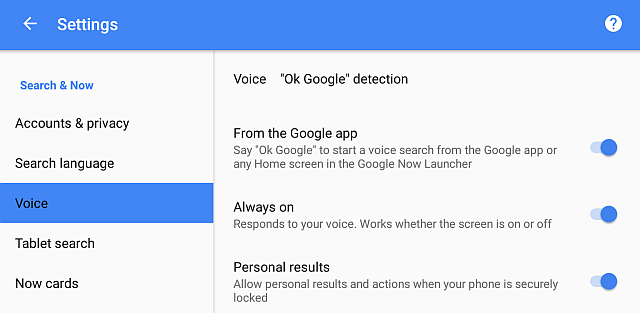 google now enable always on