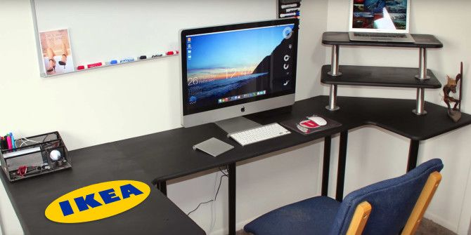Incredible office desk ikea besta Stand Makeuseof Practical Ikea Hacks For Your Office Workstation