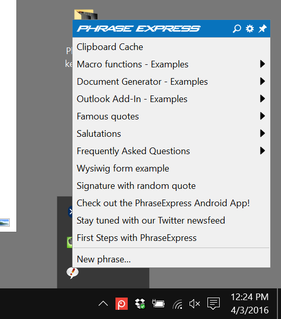 phraseexpress user interface example