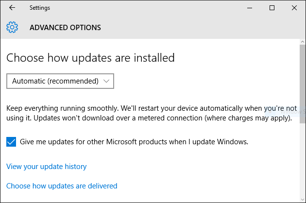 windows 10 choose how updates are installed