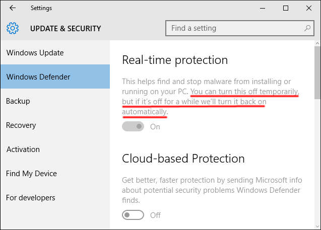 how to disable windows security in windows 10